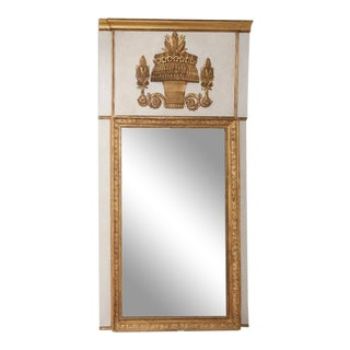 Empire Trumeau Gilded Gold Mirror With a Basket Wheat Decoration For Sale