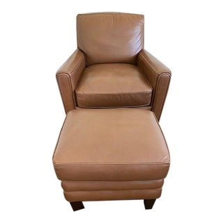 West Elm Brown Leather Chair With Ottoman For Sale