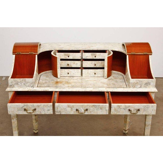 Hollywood Regency Tessellated Stone Carlton House Desk by Maitland-Smith For Sale - Image 3 of 13