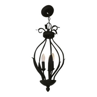 Three Light Iron Chandelier For Sale