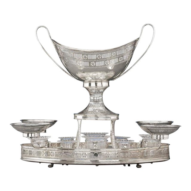 Sheffield Silver Plate Rolling Dessert Stand For Sale
