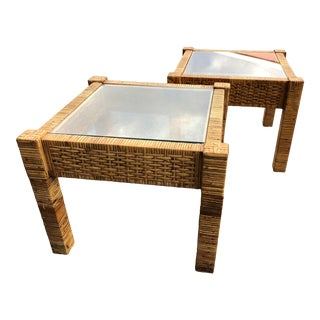 Vintage Billy Baldwin Style Wrapped Rattan End Tables - a Pair For Sale