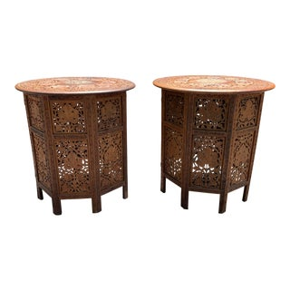 Anglo-Indian Carved Teak Octagonal Inlay Folding Tables - a Pair For Sale