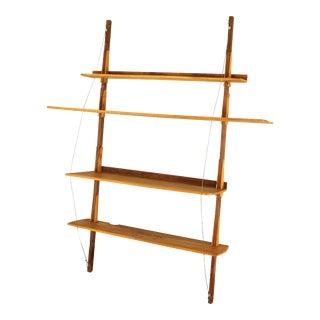 Studio Crafted Free Form Walnut 4 Tier Hanging Bookshelf For Sale