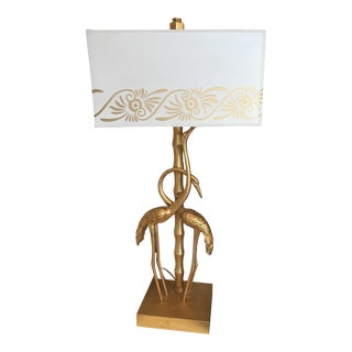 Shine by Sho Unique Bird Table Lamp in Gold With a White Patterned Shade
