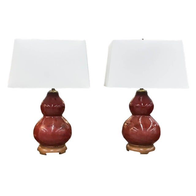 Mid-Century Pottery Gourd Lamps - A Pair - Image 8 of 8