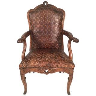 Italian Rococo Carved Walnut Armchair For Sale