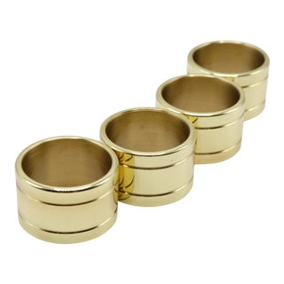 Traditional Polished Brass Napkin Rings -- Set of 4 For Sale