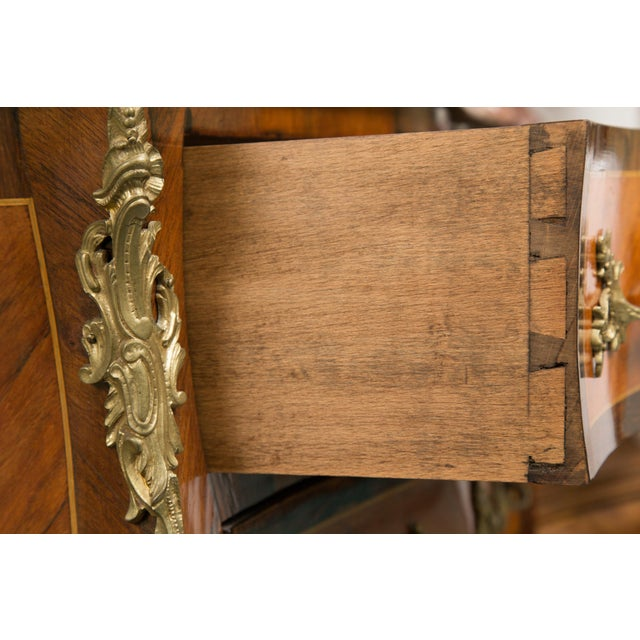 Metal Louis XV Style Two-Drawer Commode With Marble Top, 20th Century For Sale - Image 7 of 10