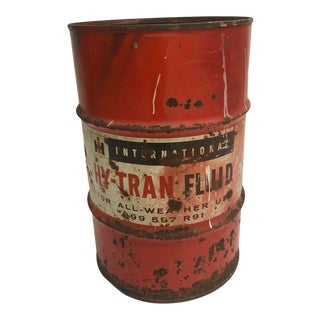 Vintage Industrial Steel Oil Drum Barrel - International Harvester Advertising For Sale