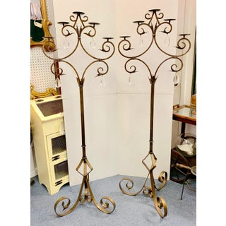 1950s Italian Wrought Iron Floor Candelabras With Crystal Pendants - a Pair Preview