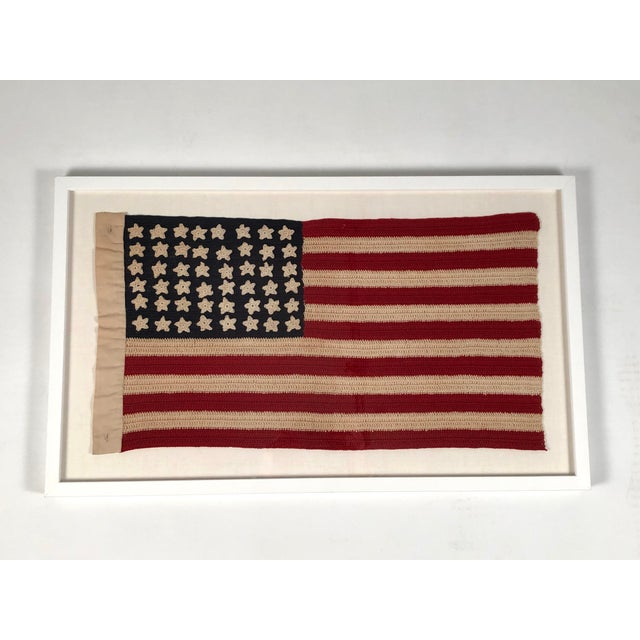 Americana Small Vintage Hand Crocheted American Flag For Sale - Image 3 of 12