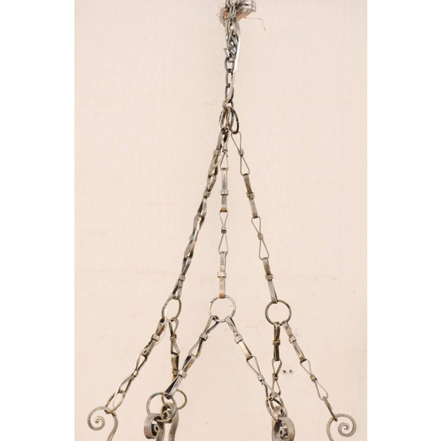 French Midcentury Six-Light Iron Chandelier With Lovely Scrolling Pattern For Sale - Image 4 of 11