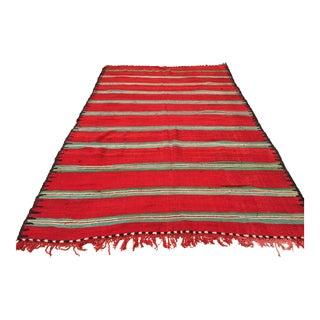 Moroccan Vintage Flat-Weave Rug For Sale