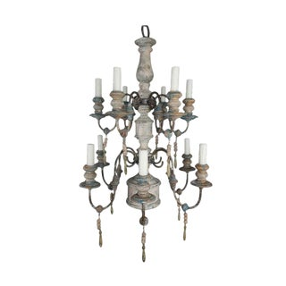 Twelve-Light Wood and Iron Painted Chandelier For Sale
