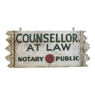 Vintage Counsellor at Law Sign For Sale