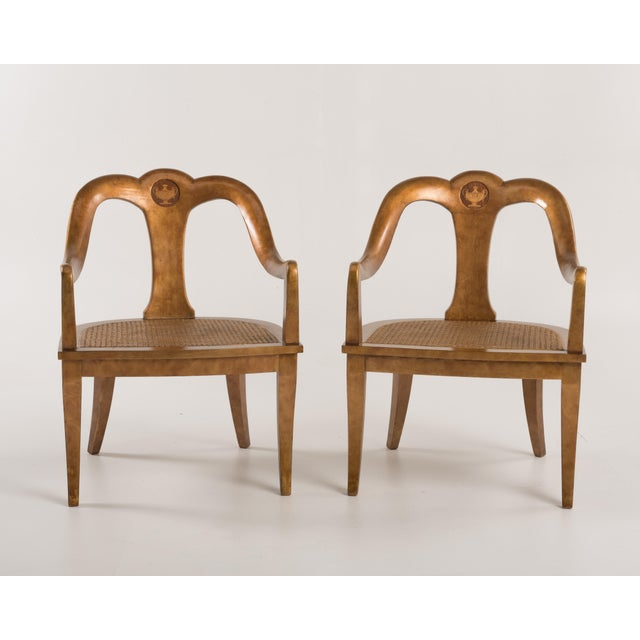 Antique Regency Spoon Back Armchairs Gold Gilt Cane Urn Inlay - a Pair For Sale In Philadelphia - Image 6 of 13