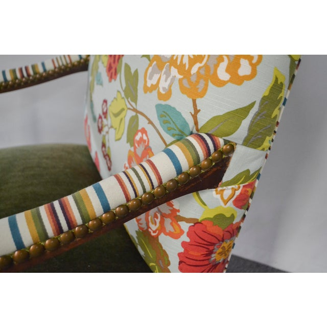 American Modern Occasional Chair in Fabricut Print With Mohair For Sale - Image 3 of 7