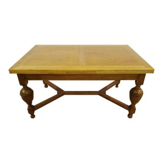 Antique French Tiger Oak Extending X-Stretcher Dining Table