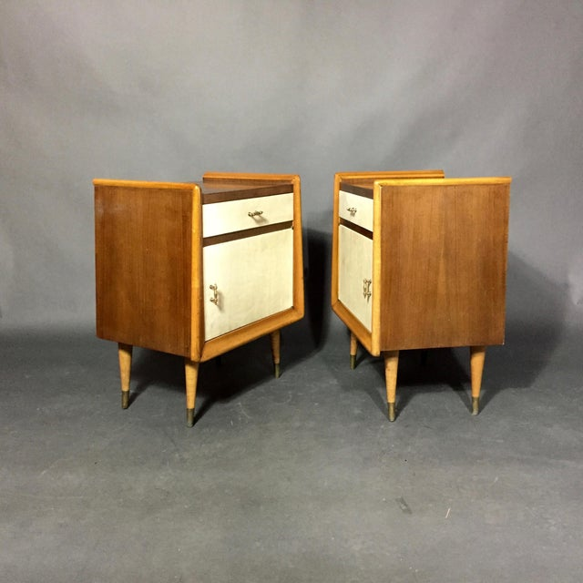 Italian Pair Italian 1960 Parchment and Maple Nightstands For Sale - Image 3 of 9
