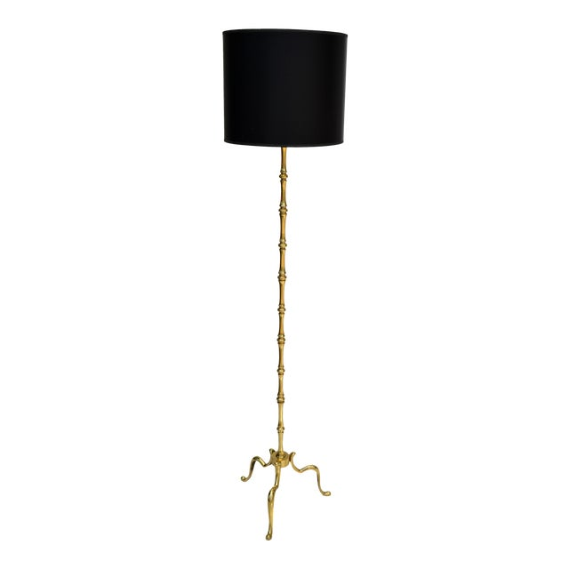 Maison Baguès French Neoclassical Bronze Bamboo Floor Lamp For Sale