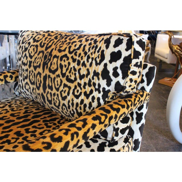 Not Yet Made - Made To Order Pair of Leopard Parson Chairs in the Style of Milo Baughman, Custom For Sale - Image 5 of 13