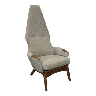 Adrian Pearsall Newly Upholstered Gray Tweed High Back Chair For Sale