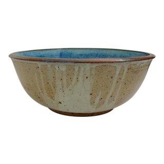 Vintage Art Pottery Ceramic Blue Bowl Hallmarked by Potter Huge