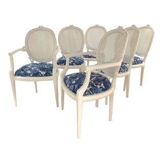 Vintage Louis XVI Faux Bois Dining Chairs- Set of 6 For Sale