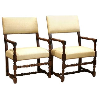 17th Century Flemish Walnut & Raw Silk Upholstered Elbow Chairs - A Pair