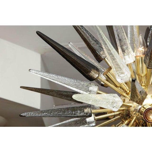 Murano Smoke and Clear Glass Spike Sputnik For Sale - Image 9 of 10
