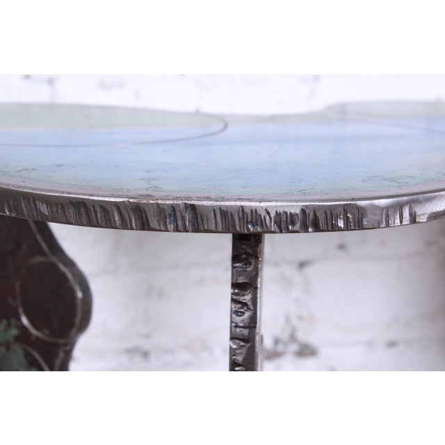 Industrial Postmodern Forged Metal Console Table Signed Cindy Wynn For Sale - Image 9 of 11