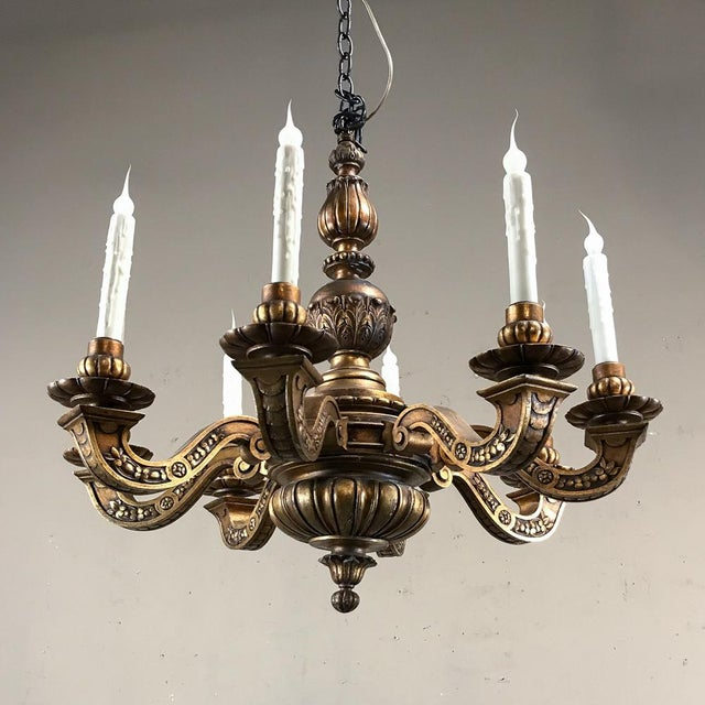 Antique Italian Giltwood Chandelier For Sale - Image 4 of 13