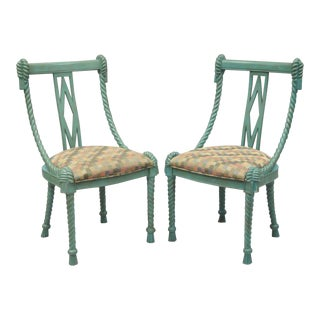 Pair Andre Originals Carved Wood Rope Tassel Italian Blue Dining Desk Chairs A