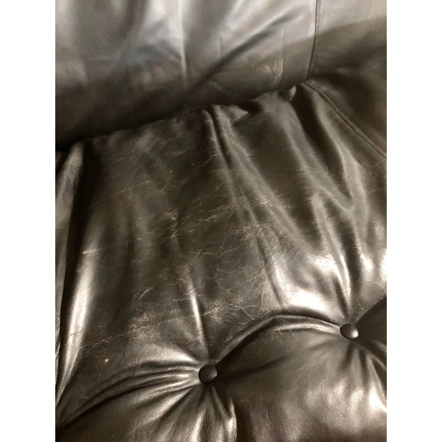 Mid Century Brazilian Modern Sheriff Sofa in Black Leather Designed by Sergio Rodrigues. For Sale In Greensboro - Image 6 of 9