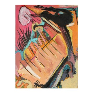 Jack Freeman Abstract Expressionist Painting in Pink and Orange, Circa 1960s For Sale