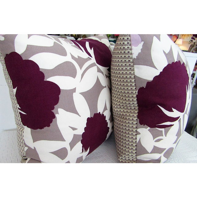 Bold print fabric : taupe with plum, white and pink on one side and the reverse is pattern with the same colors. These...