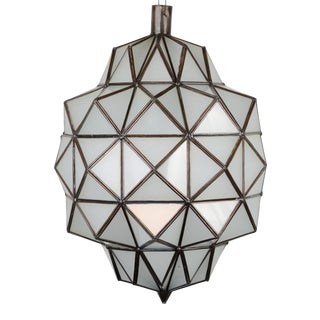 Moroccan Geometric Light W/ Frosted Glass For Sale