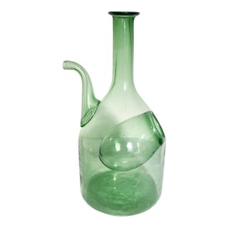 Vintage Hand Blown Wine Chiller in Green Glass For Sale