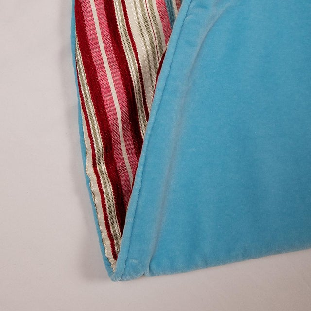 Contemporary Red, Pink and Blue Striped Tree Skirt For Sale - Image 6 of 10