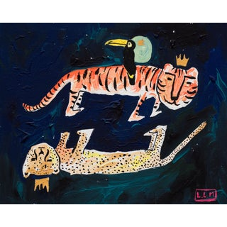 Tiger Toucan and Cheetah in the Night Sky Painting For Sale