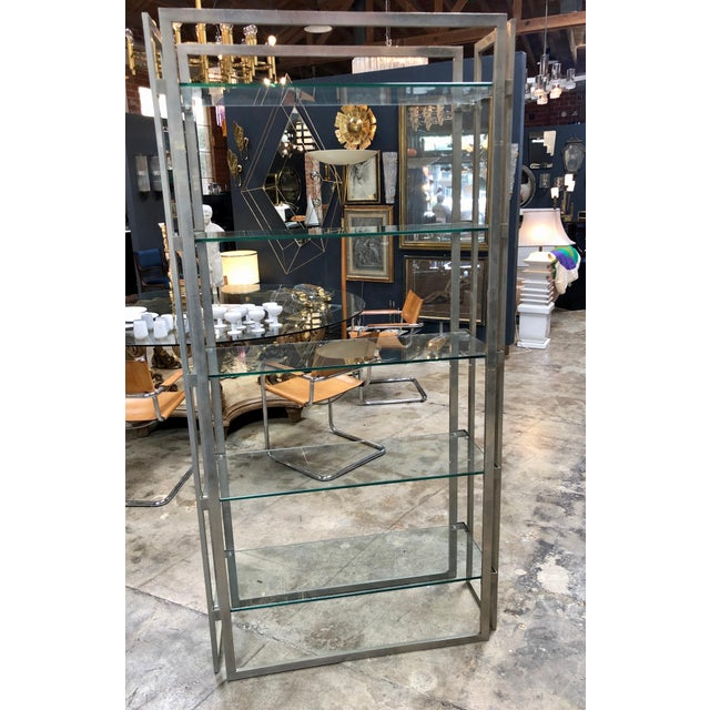 Italian Willy Rizzo Vintage Chrome Bookcase, Italy, 1970s For Sale - Image 3 of 8