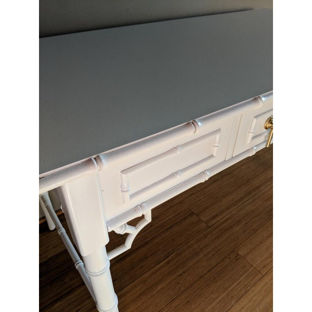 1970s Hollywood Regency Thomasville Allegro Faux Bamboo White Desk For Sale In Phoenix - Image 6 of 8