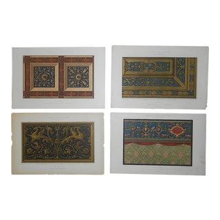 "Farbig Dekoration Ornamental Design Elements-Antique Lithographs-Set of 4-19""x13"" For Sale"