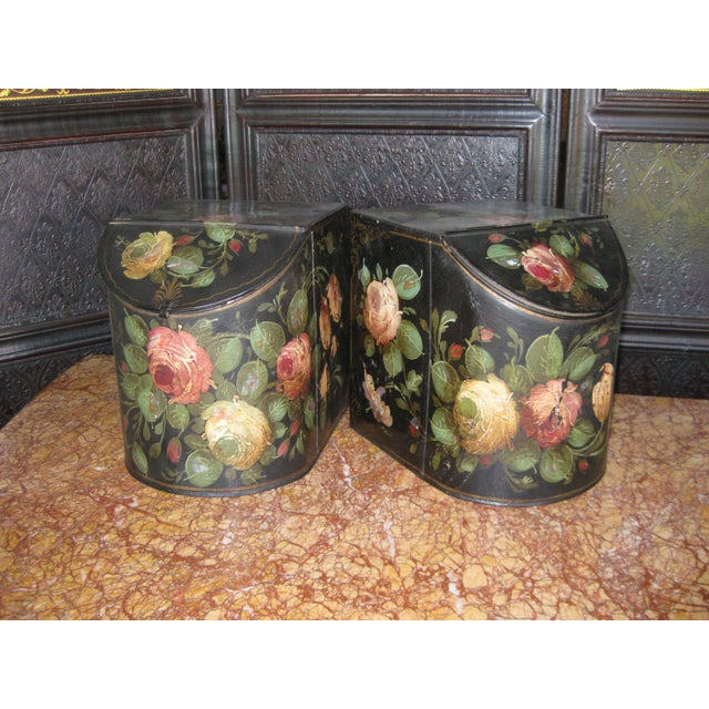 Cottage Antique English Painted Tole Storage Containers - Pair For Sale - Image 3 of 7