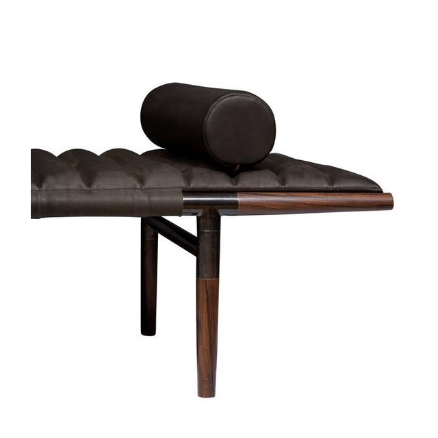 2010s Erickson Aesthetics Rosewood Daybed in Horween Leather For Sale - Image 5 of 6
