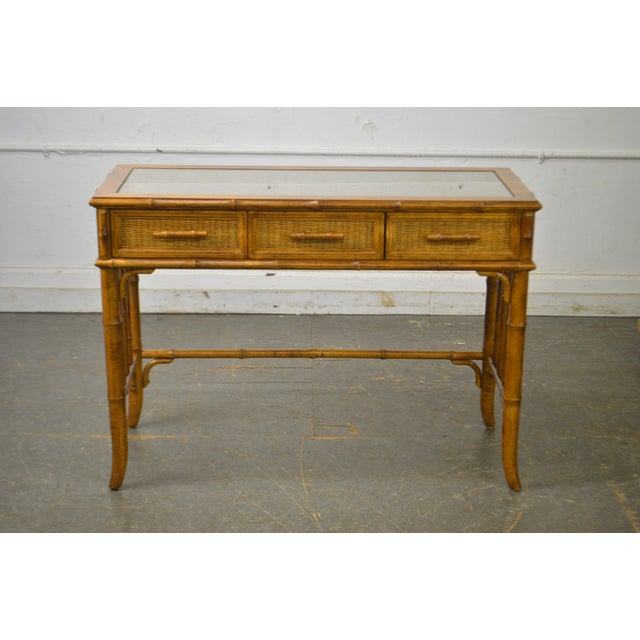 1970s American of Martinsville Faux Bamboo & Wicker Writing Desk For Sale - Image 5 of 13