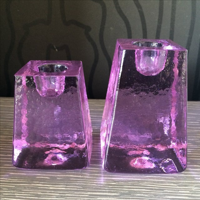 Purple Ice Cube Candle Holders - A Pair - Image 2 of 5