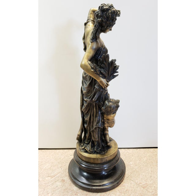 Late 19th Century Late 19th Century After Albert-Ernest Carrier-Belleuse Allegorical Spring Bronze Sculpture on Marble Base, France For Sale - Image 5 of 7