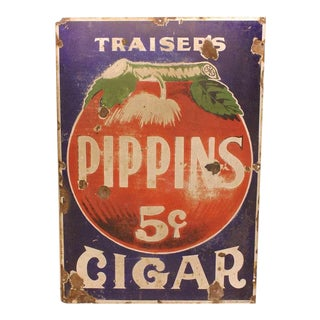 "1930's Vintage Enamel Advertising ""Cigar"" Sign For Sale"